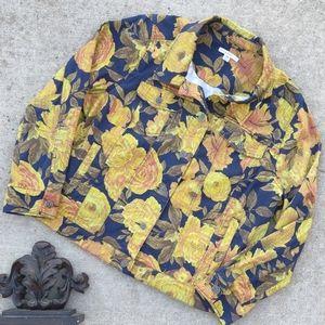 Isaac Mizrahi Yellow Rose Denim Jacket 20W